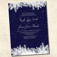 Printable winter wedding invitation Navy by DesignByChristine, $25.00