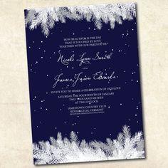 Printable winter wedding invitation  Navy by DesignByChristine, $25.00