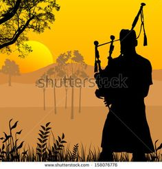 Bagpiper silhouette on beautiful sunset, vector illustration