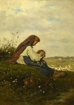 """Wreath"" (1877) by Władysław Szerner (Polish,1836-1915); oil on panel, 24 x 18.5 cm, private collection"