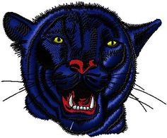 Blue/ Black panther head iron on or sew on by EmbroideryPatchLove