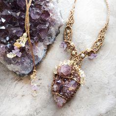Crystal amulet with grape hue 'original' Spirit Quartz Amethyst druzy / Mia Illuzia