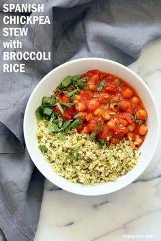 Flavorful Spanish Chickpea Stew w/ Cumin scented Cauliflower Broccoli Rice. Smoky tomatoey 30 Minute Spanish Chickpea Stew Gluten-free Nutfree Vegan Recipe Soy-free Grain-free