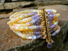 ETHIOPIAN OPAL Multi-Strand Beaded Gemstone Bracelet/Tanzanite/Pearl/Semi-Precious/Precious Beaded Cuff/14K Gold Clasp