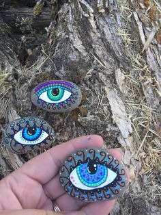 Set of three, abstract eye magnets, hand painted rocks, and hand made into magnets Abstract eye magnets Rock magnets with abstract eyes Magnets with eyes Rock art Stone art Abstract art Eye magnets Eyes