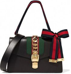89cb0b67c01 Shop for Sylvie Medium Chain-embellished Leather Shoulder Bag - Black by  Gucci at ShopStyle.