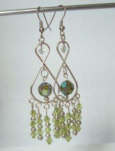 Green Swarovski and Crystal Chandelier Earrings by DBHjewellery, $12.95