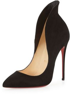 Christian Louboutin Mea Culpa Flared Suede Red Sole Pump, Black - Dramatic Pumps = a sex me up outfit. Christian Louboutin Pigalle, Stilettos, Mode Shoes, Red High Heels, Black Shoes, Red Bottom Heels, Red Bottoms, Suede Pumps, Beautiful Shoes