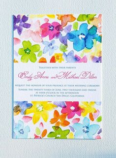 printable watercolor wedding invitation by encrestudio on etsy - Rainbow Wedding Invitations