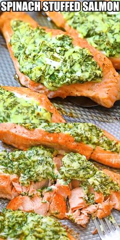 Recipes Videos Spinach Stuffed Salmon spinach cream cheese feta and mozzarella stuffing Easy to make and great for family friends or entertaining Tender and flaky salmon. Baked Salmon Recipes, Fish Recipes, Seafood Recipes, Chicken Recipes, Cream Cheese Salmon, Salmon Spinach Recipes, Snacks Recipes, Keto Chicken, Healthy Snack Recipes