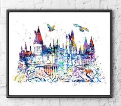 Hogwarts Castle Watercolor Print, Harry Potter Art, Movie Poster, Watercolor Print, Home Decor, Wall Art, Kids Room Decor, Room Decor - 334 by gingerkidsart on Etsy https://www.etsy.com/listing/249762394/hogwarts-castle-watercolor-print-harry