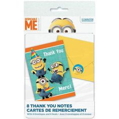Despicable Me Thank You Cards, 8-Count