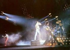 Queen live on stage on the European 'Hot Space' tour in April /June 1982.