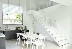 White Stairs, Living Spaces, Loft, Interior, Home Decor, Decoration Home, White Staircase, Room Decor, Design Interiors