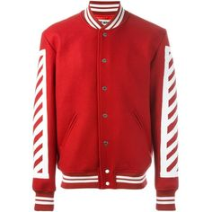 Off-White Logo Print Bomber Jacket ($1,138) ❤ liked on Polyvore featuring men's fashion, men's clothing, men's outerwear, men's jackets, red and mens red jacket