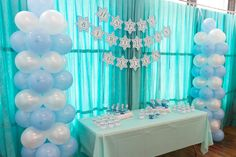 Frozen party decorations!  See more party ideas at CatchMyParty.com!