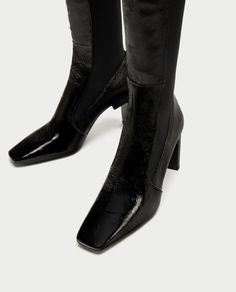 SQUARE TOED HIGH HEEL LEATHER ANKLE BOOTS-Ankle Boots-SHOES-WOMAN | ZARA United States