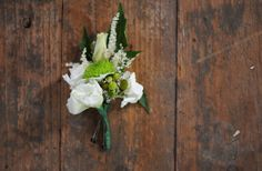 #green and #white #rustic #boutonniere