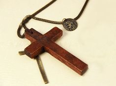 Vintage Wooden Double Cross Necklace,free shipping,looback,looback.com.$8.99