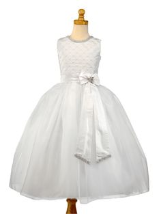 Christie Helene Couture Communion Dress - Reese - Diamond White Silk Organza Dress with Rhinestones