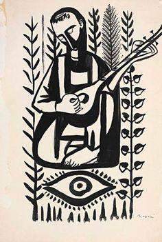 Bedri Rahmi Eyüboğlu Linocut Prints, Art Prints, Lino Art, Russian Folk Art, Ganesha Art, Linoprint, Abstract Line Art, Turkish Art, Silhouette Art