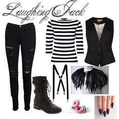 """Creepypasta: Laughing Jack Inspired Outfit"" by oceana-jade on Polyvore"