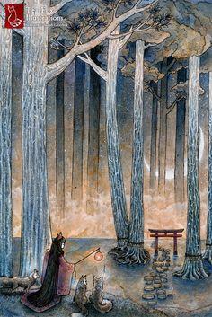 Fox Woman Japanese Art Fantasy Yokai Asian by TeaFoxIllustrations, $6.00