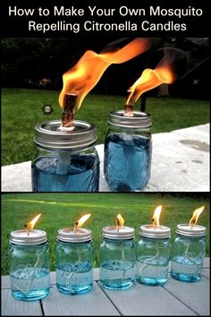 It's a beautiful, balmy night. You decide to sit out and do a little star gazing. until the mosquitoes find you! Make mosquito repelling citronella candles! This little DIY project makes use of citronella. From backyard barbecues to Outdoor Crafts, Outdoor Projects, Outdoor Fun, Outdoor Parties, Outdoor Decor, Citronella Candles, Diy Candles, Citronella Torches, Outdoor Candles
