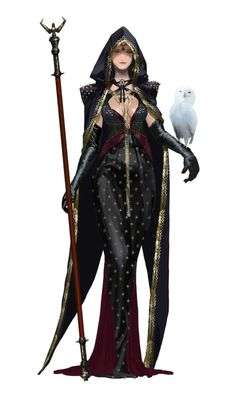 A little too seductive maybe but the cape is A+ and the dress fabric is nice Female Human Wizard with owl familiar - Pathfinder PFRPG DND D&D ed fantasy Fantasy Character Design, Character Concept, Character Inspiration, Character Art, Fantasy Art Women, Fantasy Girl, Dark Fantasy, Anime Fantasy, Fantasy Characters