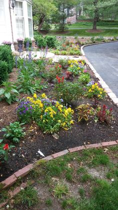 A blend of annuals and spring blooming perennials provide inviting splashes of color around this front entrance as newly planted shrubs become established.