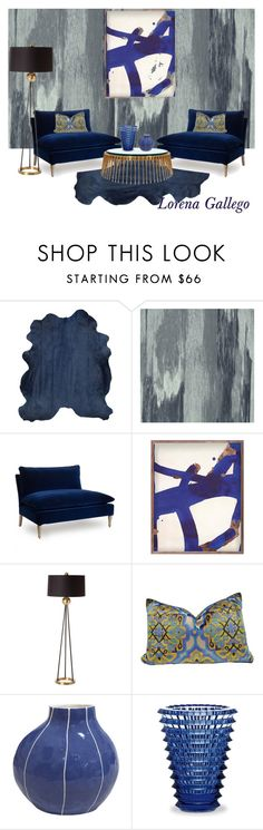 """Depp Blue"" by lorena-gallego on Polyvore featuring interior, interiors, interior design, hogar, home decor, interior decorating, Designers Guild, Horgans, DwellStudio y Arteriors"