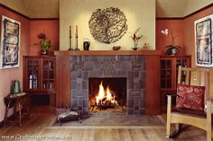 Tile surround fireplace in the Arts and Crafts sytle, by The Craftsman Home