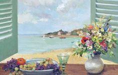 автор: vitya_maly / размер: 2048x1470 / теги: цветы, картина, лодка, Марсель Диф, фрукты, ставни, Окно с видом на море, парус, пейзаж