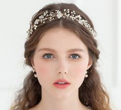 Vintage Wedding Bridal Freshwater Pearl Headband Hair Band Ribbon Crown Tiara So Wedding Headband, Pearl Headband, Bridal Crown, Grecian Hairstyles, Headband Hairstyles, Wedding Hairstyles, Wedding Hair And Makeup, Bridal Makeup, Braut Make-up