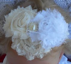 White and cream colored flowers on a cream by Joysheartcreations, $7.00