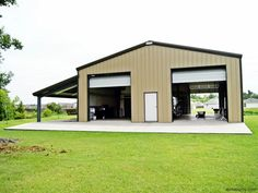 Steel garage building with two high overhead doors and a lean-to on the side. Description from pinterest.com. I searched for this on bing.com/images #MetalBuildings