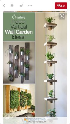 These DIY indoor vertical garden planters let you add living plants right into your decor! Hang these indoor wall planters year round, indoors! Vertical Garden Planters, Wall Planters, Succulent Planters, Vertical Gardens, Hanging Herb Gardens, Hanging Herbs, Succulent Ideas, Succulent Wall, Succulents Garden