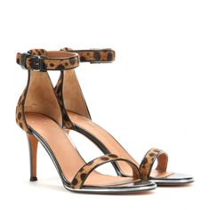 mytheresa.com - Nadia leather and pony-hair sandals - Mid heel - Sandals - Shoes - Luxury Fashion for Women / Designer clothing, shoes, bags...