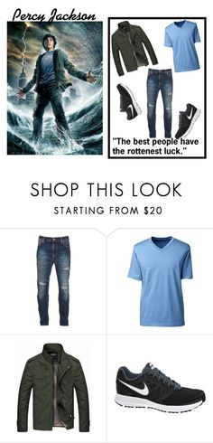 """""""Percy Jackson"""" by greekmythology17 ❤ liked on Polyvore featuring Nudie Jeans Co., Lands' End, NIKE, men's fashion and menswear"""