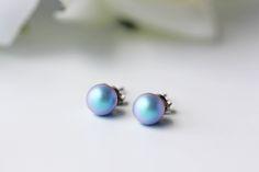 Swarovski Iridescent Light Blue Pearl Titanium Stud Earrings Simple Everyday Dainty by KaoriKaori on Etsy