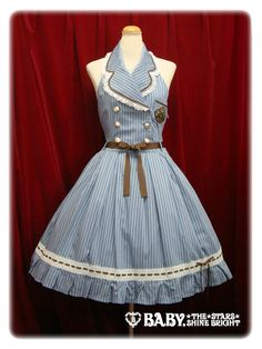 Holy school JSK in sax blue. I really like the retro cut and the simple stripes! #lolita #aatp #retro  円9870 yen sales price