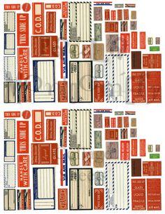 Vintage Parcel Box/Mailing Labels Digital Download Collage Sheet