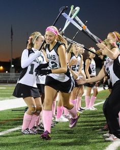 """The Pine-Richland girls field hockey team decided to """"Go Pink"""" this week in honor of Breast Cancer Awareness Month. Sophomore Paige Haenig and fellow players wore pink socks, pink head gear and played with a pink ball. Credit Wendy Compernolle"""