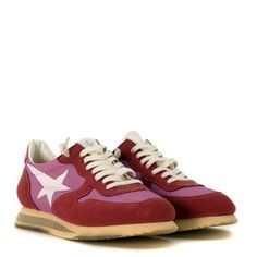 Laterale Sneaker Haus Golden Goose in camoscio rosa scuro