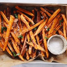 How to make crispy sweet potato fries in 30 minutes! Paleo and sweet potato fries are a healthy side dish or snack. Make these easy sweet potato fries to serve along a salad or soup. Whole30 Sweet Potato Fries, Making Sweet Potato Fries, Crispy Sweet Potato, Sweet Potato Recipes, Airfryer Sweet Potato Fries, Homemade Sweet Potato Fries, Canned Vegetable Recipes, Brown Sugar Roasted Carrots, Carrot Fries