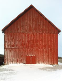 A barn near us in Sweden that was hit by a blizzard.