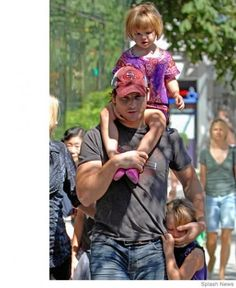 Dads that are famous in Hollywood, and even more important to the kids in their lives. Plus, check out the celeb baby names we love! Celebrity Dads, Celebrity Photos, Chris Martin Coldplay, Men And Babies, Peter Facinelli, Hot Dads, Adopting A Child, Matthew Mcconaughey, Children