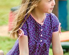 Items similar to Lily Bird Studio PDF Sewing Pattern - Juliette's Dress - 2 to 10 years - paneled dress, open back, petticoat, vintage inspired on Etsy 10 Year Old Model, Amy, Thing 1, How To Make Buttons, Rolled Hem, Cotton Blouses, Lovely Dresses, Pdf Sewing Patterns, Ruffle Sleeve