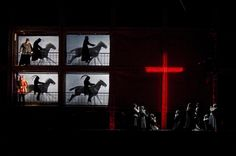 La Damnation de Faust at the Metropolitan Opera. Production by Robert Lepage. Sets by Carl Fillion. Interactive videos by Holger Foerterer. Theatre Design, Stage Design, Set Design, Scenography Theatre, Metropolitan Opera, Stage Set, Scenic Design, Cinema, Exhibition Space