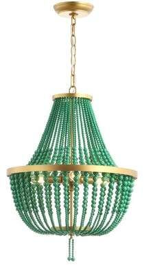 Disney 3 - Light Lantern Empire Chandelier with Beaded Accents Green Chandeliers, Wood Bead Chandelier, Rectangle Chandelier, Empire Chandelier, Globe Chandelier, Lantern Pendant, Chandelier Lighting, Chandelier Crystals, Wood Accents